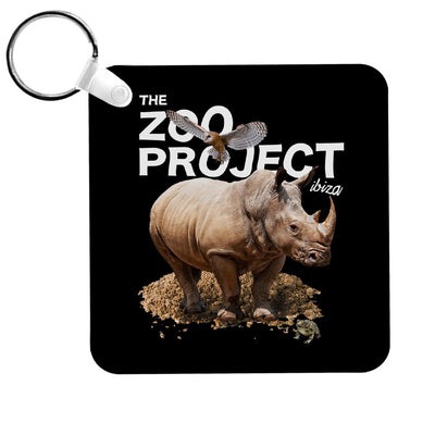 Rhinoceros Owl And Toad White Text Key Ring-The Zoo Project Store