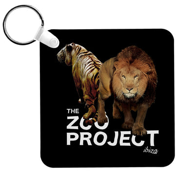 Tiger And Lion White Text Keyring-The Zoo Project Store