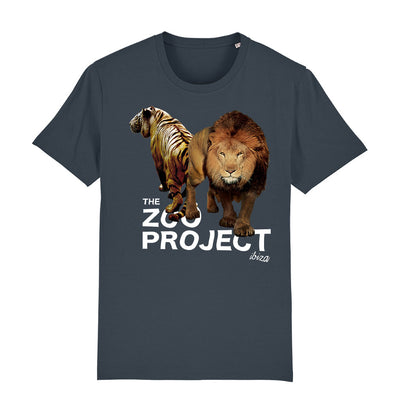 Tiger And Lion White Text Men's Organic T-Shirt-The Zoo Project Store