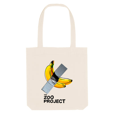 Taped Banana Black Text Woven Tote Bag-The Zoo Project Store