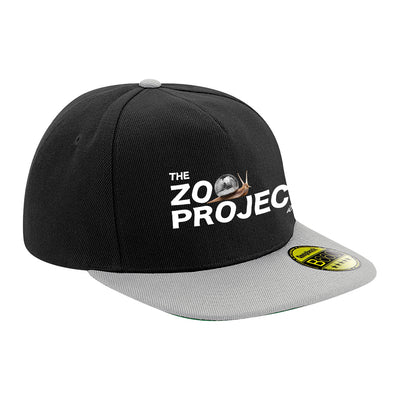 Mirrorball Snail White Text Flat Peak Snapback Cap-The Zoo Project Store