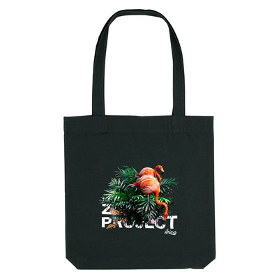 Flamingos And Snake White Text Woven Tote Bag-The Zoo Project Store