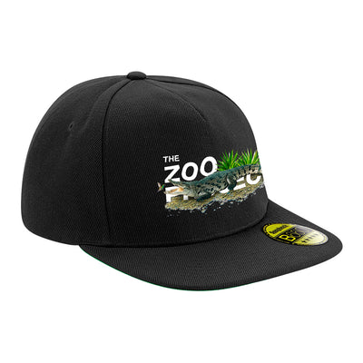 Crocodile And Humming Bird White Text Flat Peak Snapback Cap-The Zoo Project Store