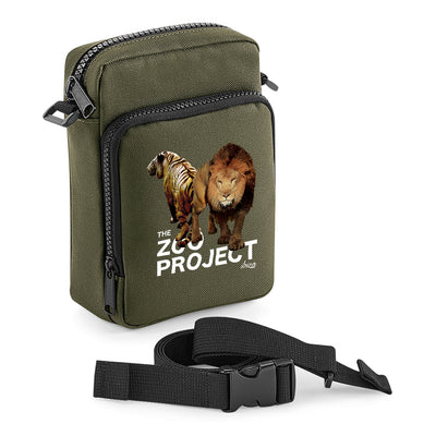 Tiger And Lion White Text Multi-Pocket Belt Bag-The Zoo Project Store