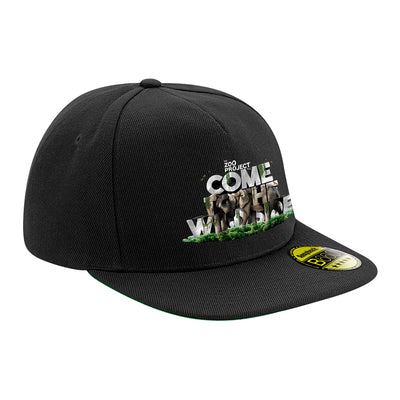 Come To The Wild Side White Text Flat Peak Snapback Cap-The Zoo Project Store