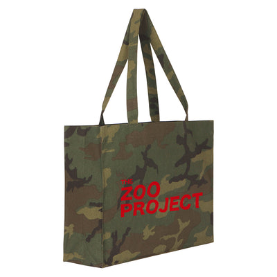 The Zoo Project Red Logo Camouflage Large Woven Shopping Bag-The Zoo Project Store
