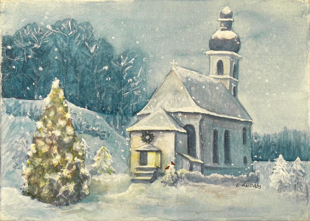 Snowy Church- Single Card