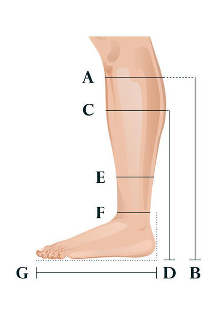 A-G measurement guide for Classic Boots handmade horse racing boots