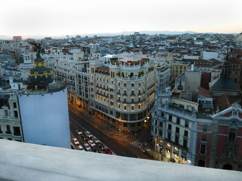 sky view of downtown Madrid
