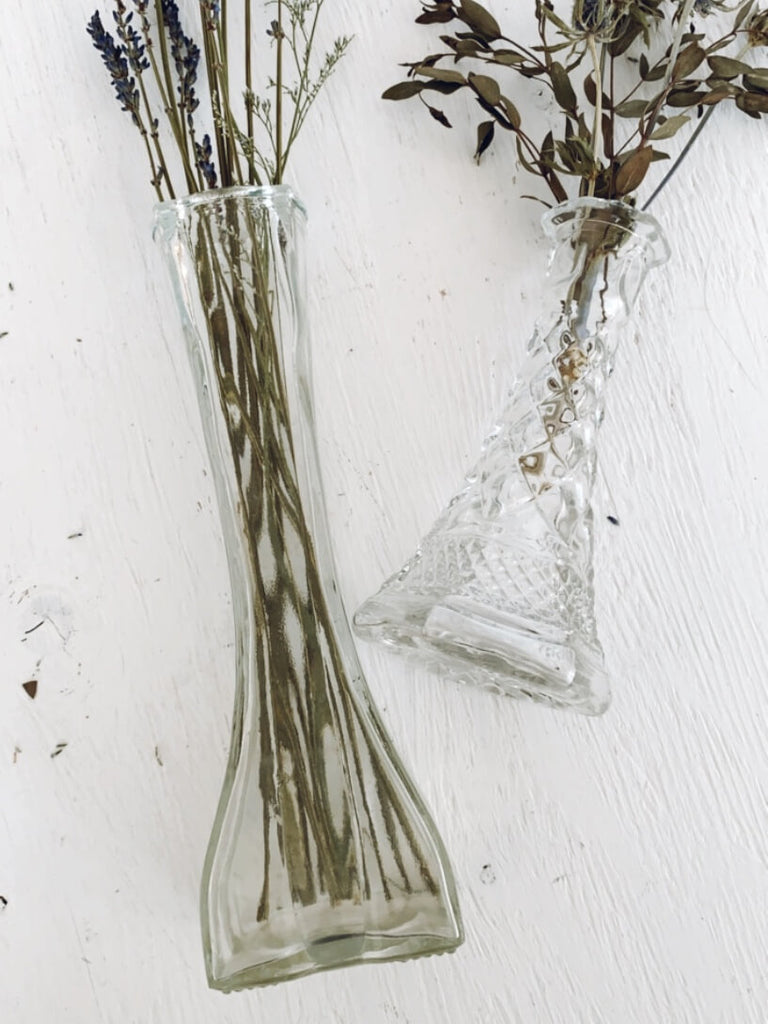 Gray Vintage Europa Clear Glass Bud Vase