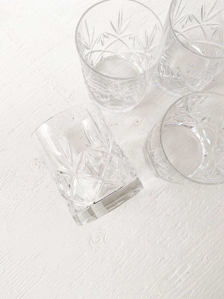 Gray Cut Crystal Whisky Tumblers - Set of 2