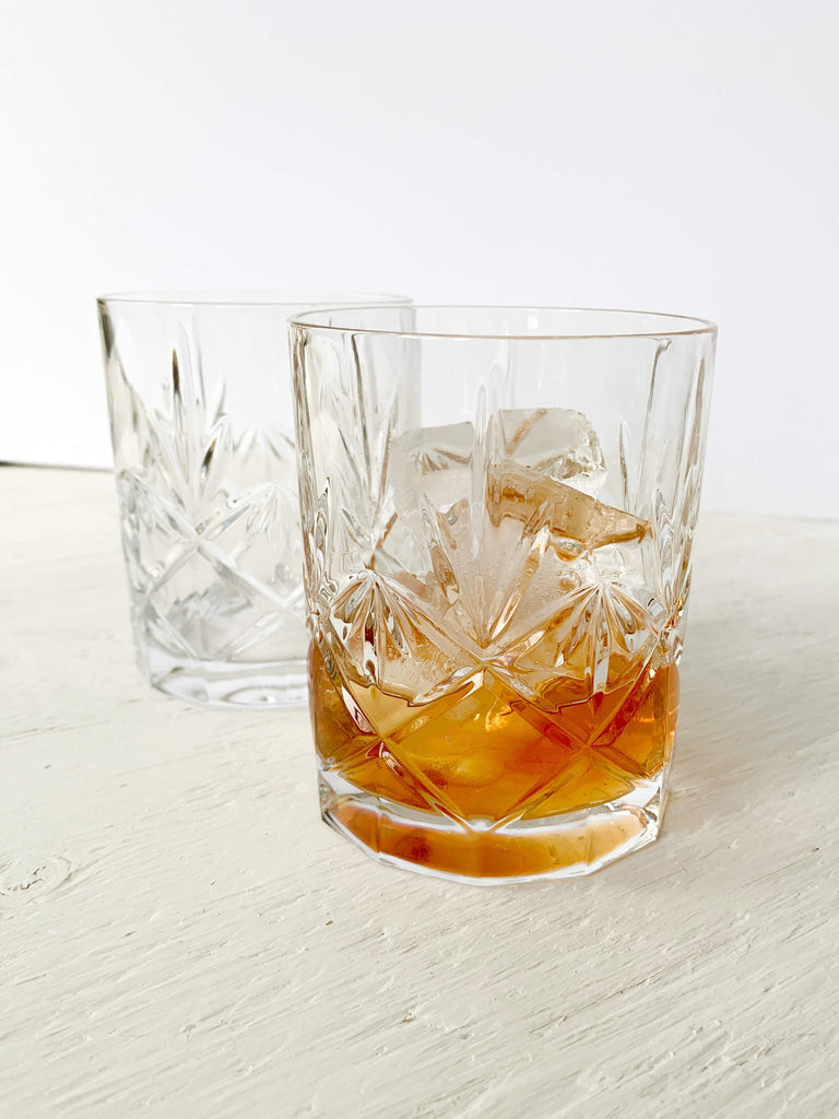Dark Khaki Cut Crystal Whisky Tumblers - Set of 2