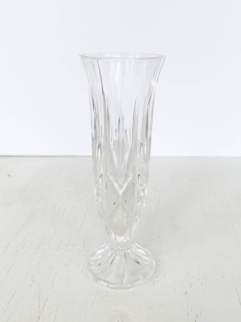 White Smoke Vintage Fluted Cut Crystal Bud Vase