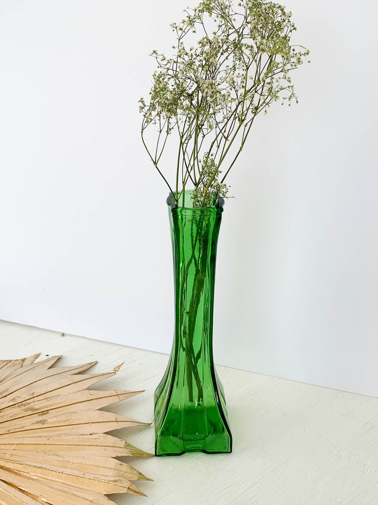 Dark Green Vintage Europa Emerald Green Glass Bud Vase