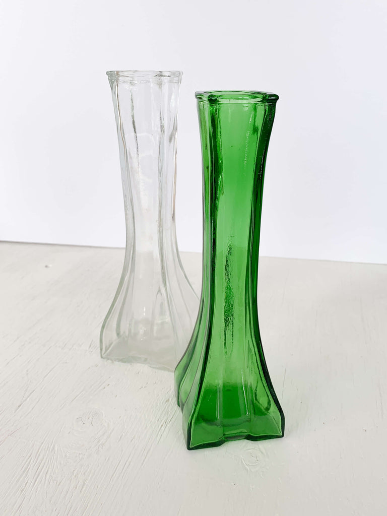 Medium Sea Green Vintage Europa Emerald Green Glass Bud Vase