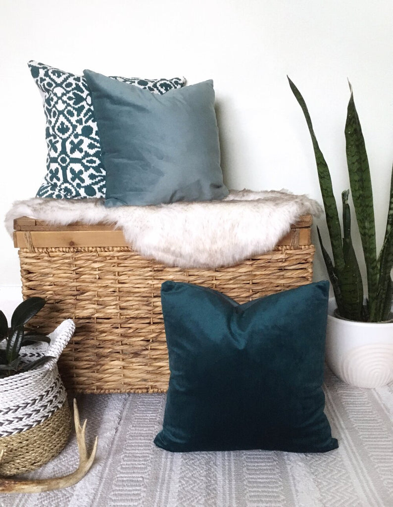 Rosy Brown Velvet Luxe Reversible Accent Pillow - Teal/Dusty Blue