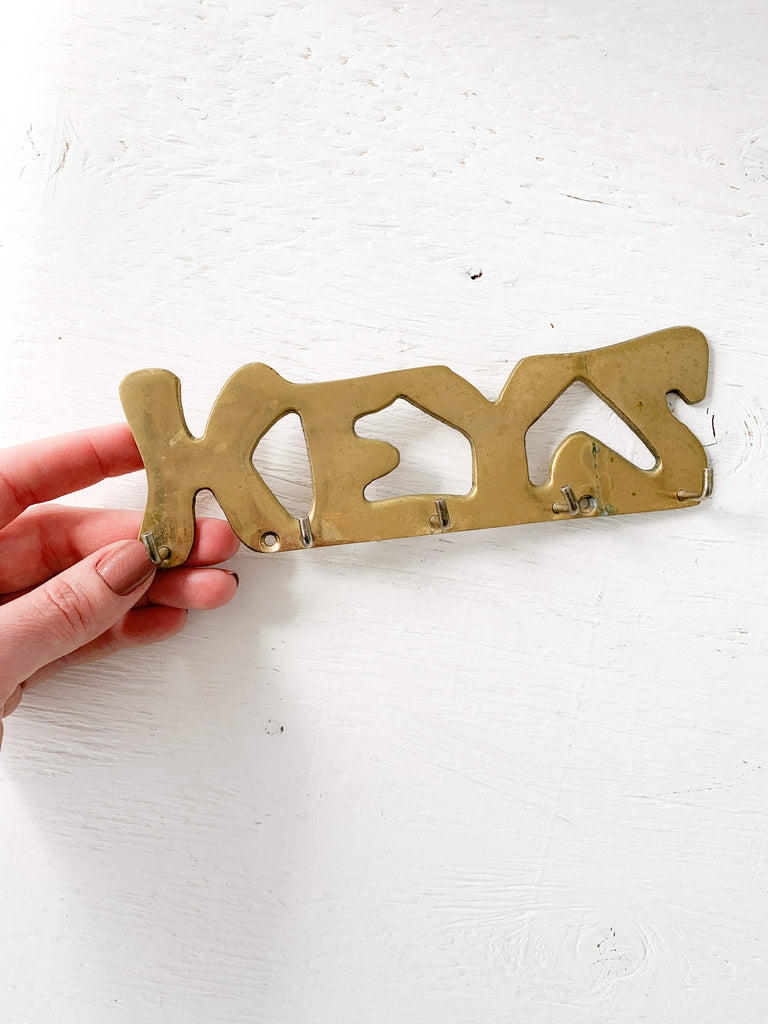 Dark Khaki Antique Brass Key Holder