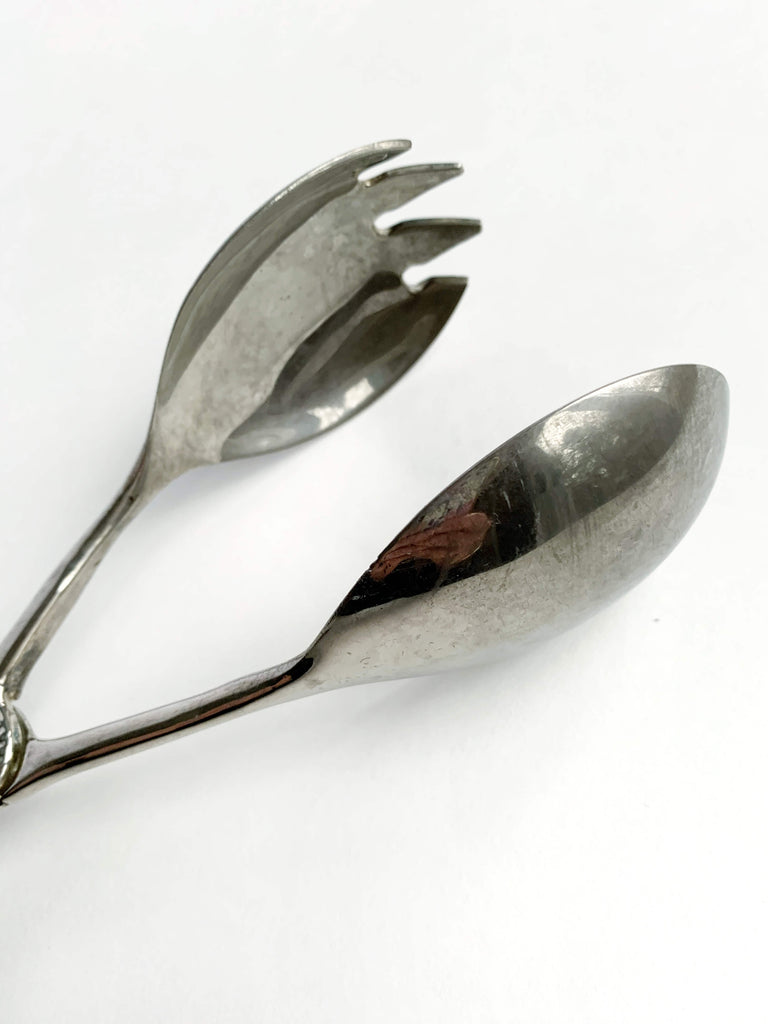 Dark Gray Vintage Silver Serving Spoons