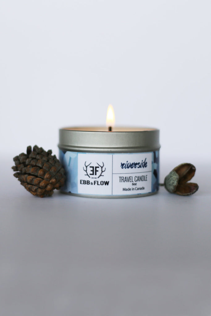 Gray Soy Wax Travel Candle - Riverside
