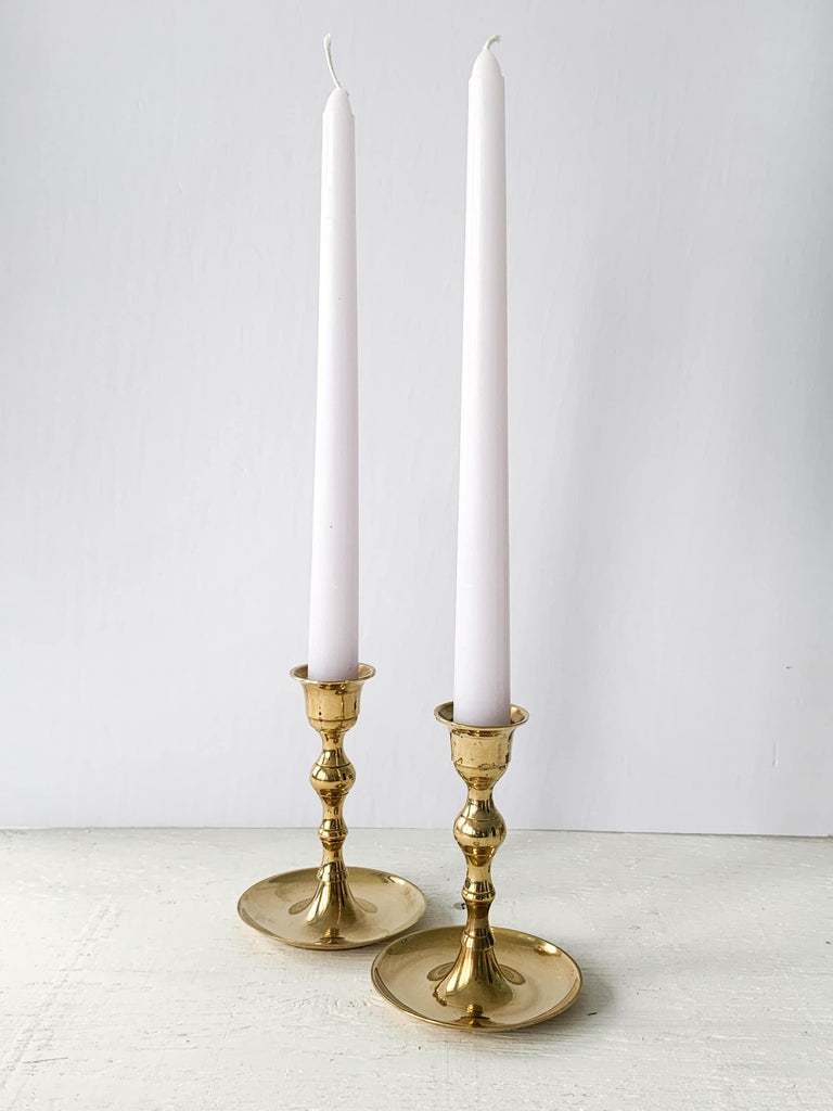 Lavender Polished Vintage Brass Taper Candlestick Holder