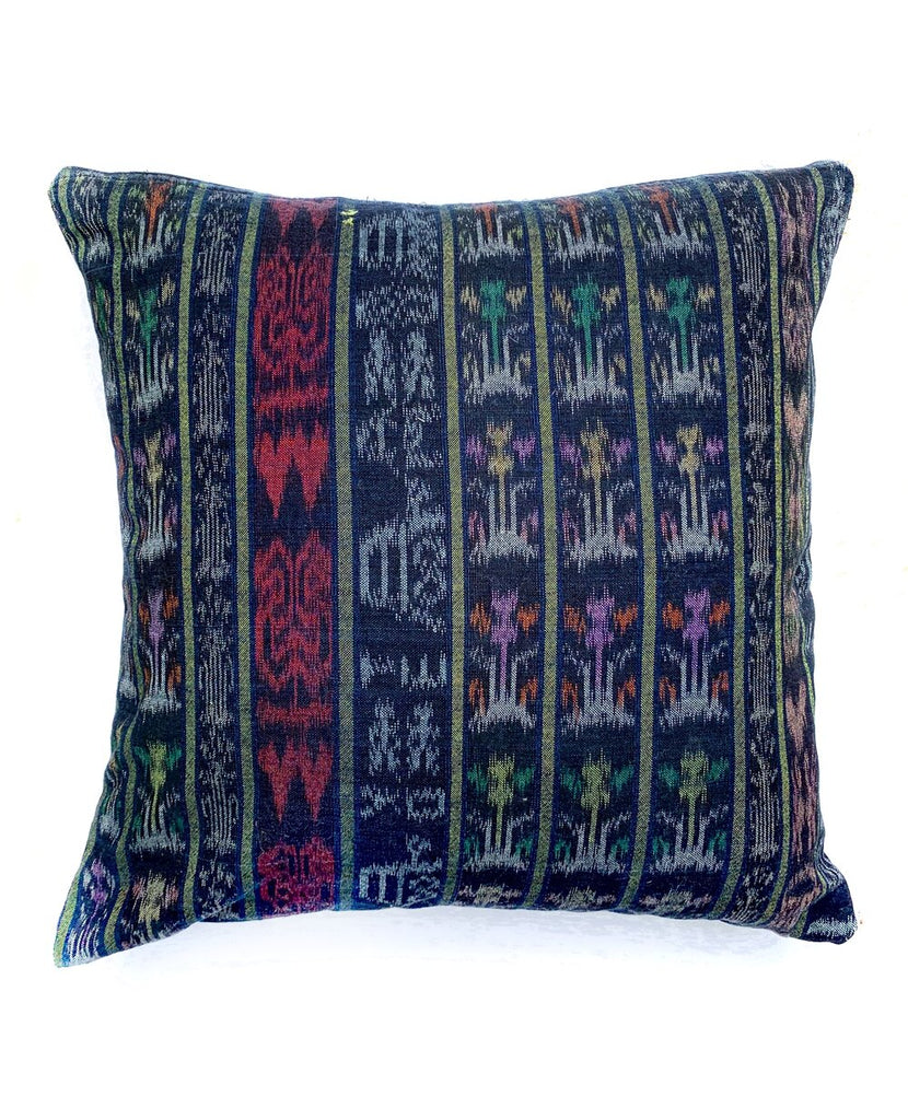 Dark Slate Gray Vintage Corte Accent Pillow - Santa Lucia