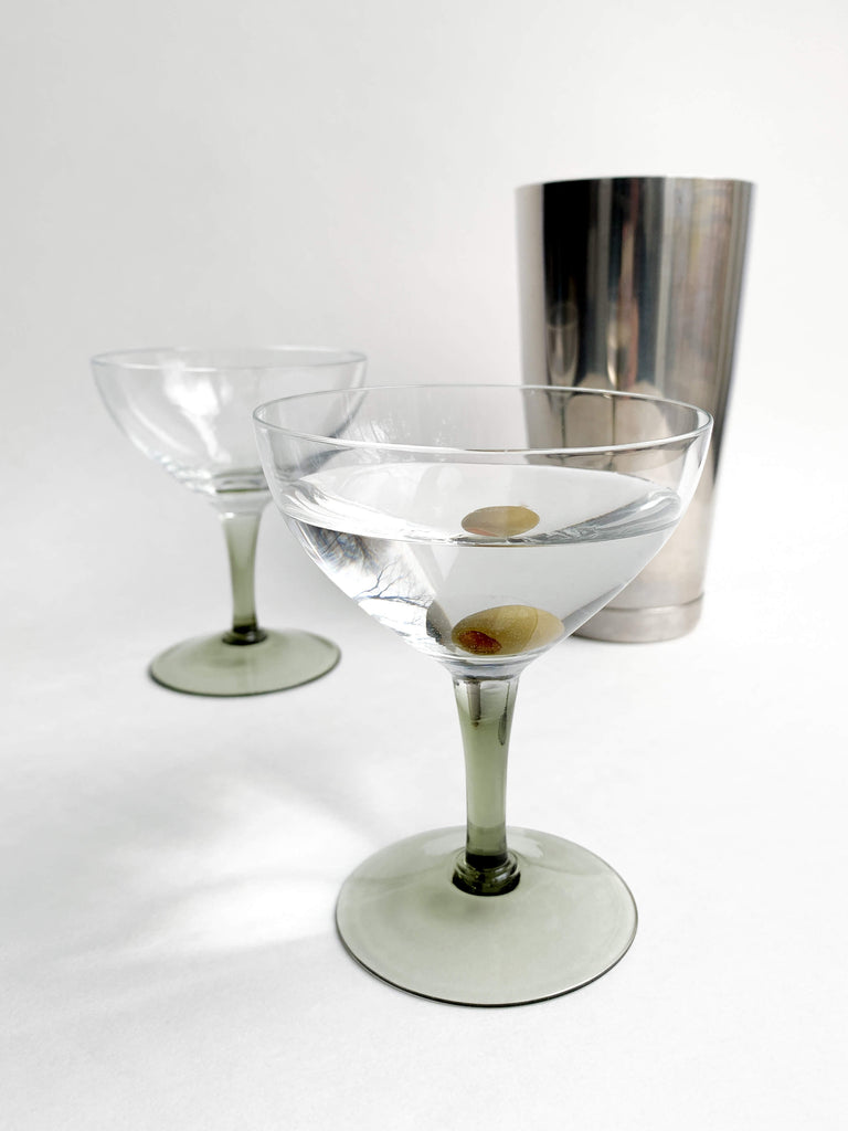 Gray Vintage Smoked Glass Stemmed Coupe Glasses - Set of 6