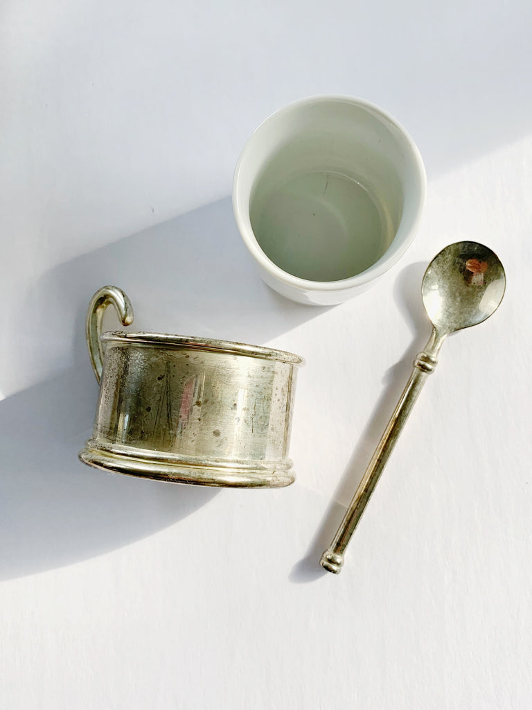 Silver And White Ceramic Espresso Cups With Spoon - Set of 6