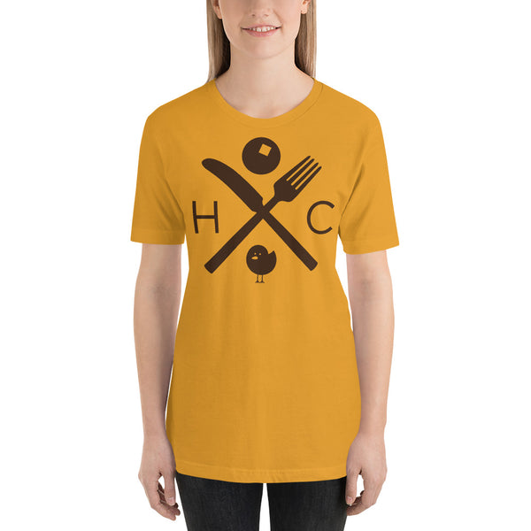 Fork And Knife (Brown Ink) Short-Sleeve Unisex T-Shirt