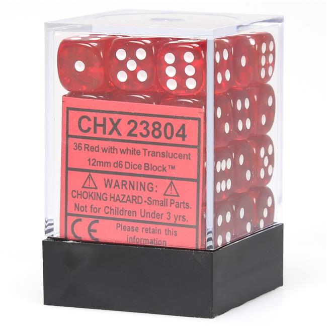 Translucent Red/White 12 mm d6 (36 dice)