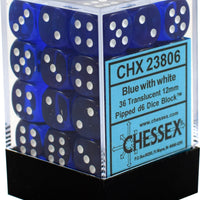 Translucent Blue/White 12 mm d6 (36 dice)