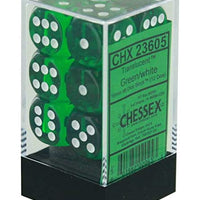 Translucent Green/White 16 mm d6 (12 dice)