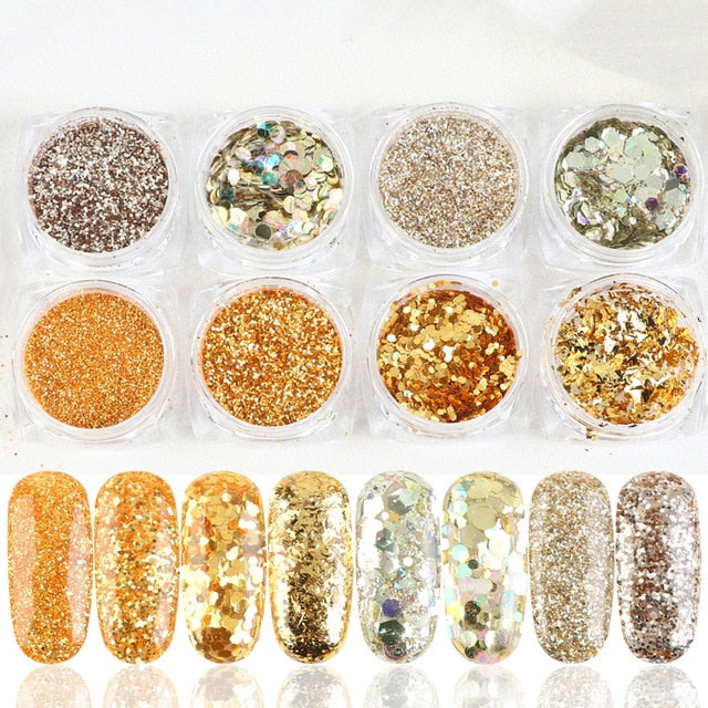 1Set Holographic Nail Glitter Set Powder Nail Art - BeautyForTen