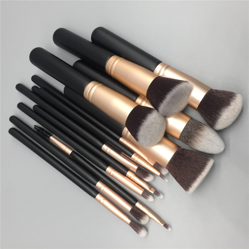 14pcs makeup brushes set for foundation powder blusher - BeautyForTen