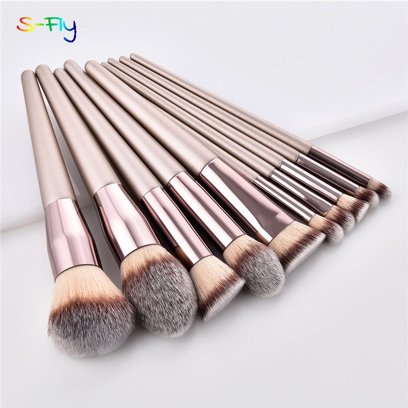10pcs/set Champagne makeup brushes - BeautyForTen