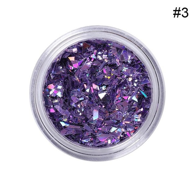 1 Box 10ml Nail Glitter Powder Pink Purple Shiny Hexagon Shape - BeautyForTen
