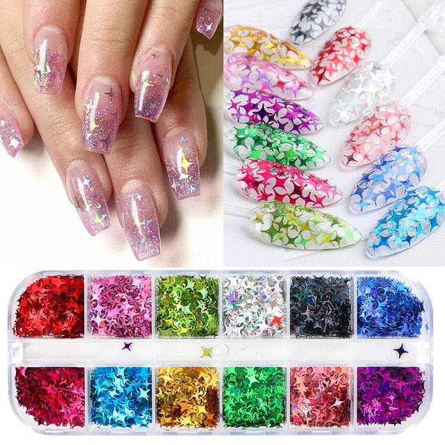 12 Grid Nail Sequins Paillette Aluminum Irregular Flakes Gold - BeautyForTen