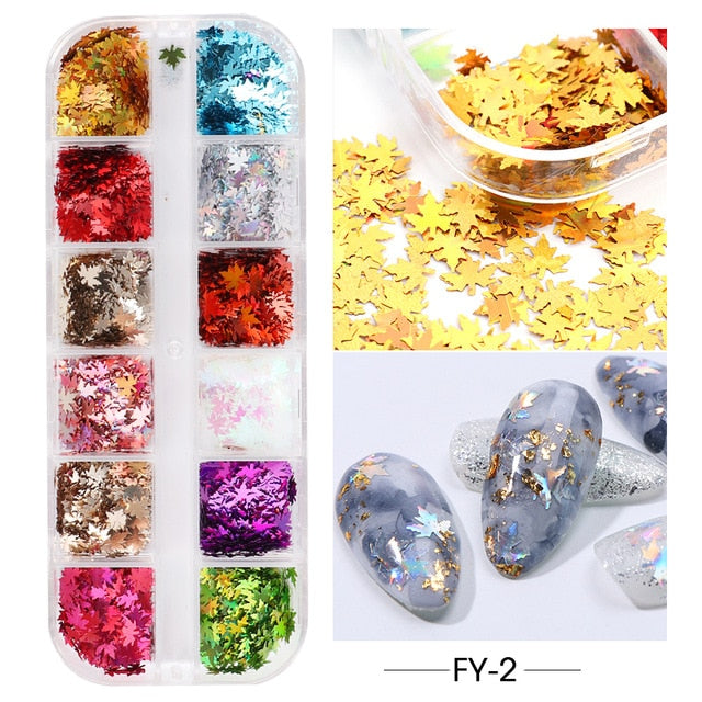 12 Grid Nail Sequins Paillette Aluminum Irregular Flakes Gold