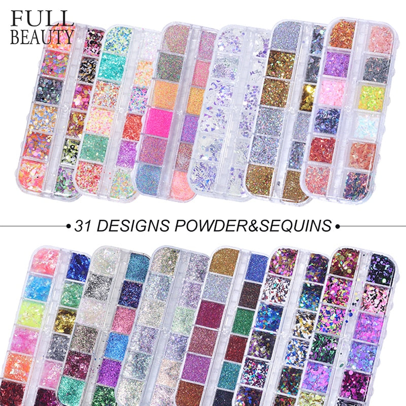 Full Beauty 12 Grids/Sets Nail Glitter Sequin Mixed Mirror - BeautyForTen