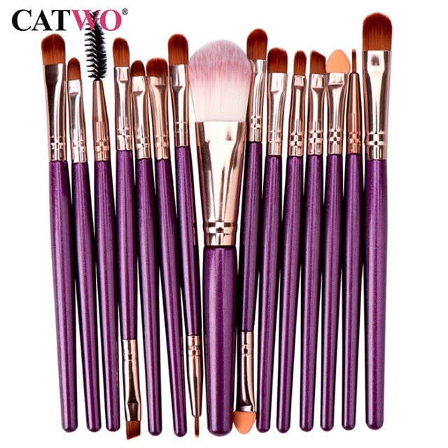Catwo 15Pcs Makeup Brushes Set Eye Shadow - BeautyForTen