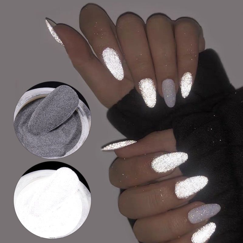 Reflective Shiny Dust Glow Nail Glitter Powder - BeautyForTen