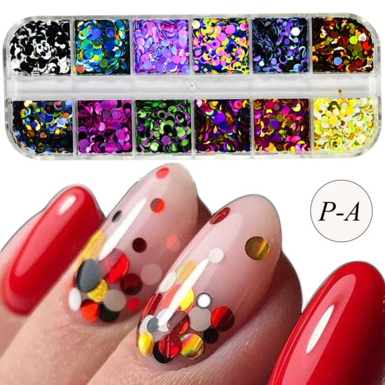 1 Set Colorful Ultrathin Sequins Nail Glitter - BeautyForTen