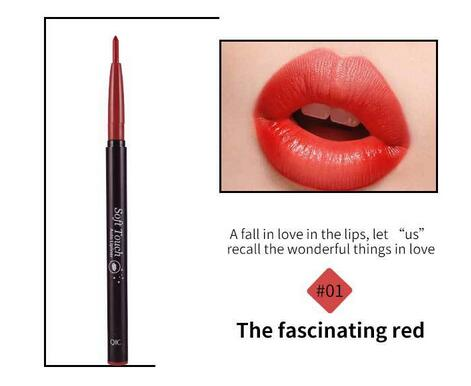 QIC automatic lip liner pencil rose red waterproof - BeautyForTen
