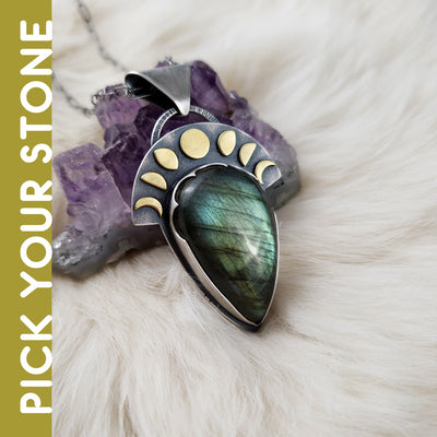 Dark Skies - Luna Moonphase Necklace - PICK YOUR STONE