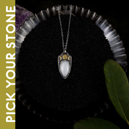 Dark Skies - Lyra Moonphase Necklace - PICK YOUR STONE