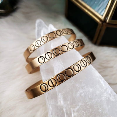 Brass Stamped Moonphase Cuff (Made-to-Order | Pick Your Size)