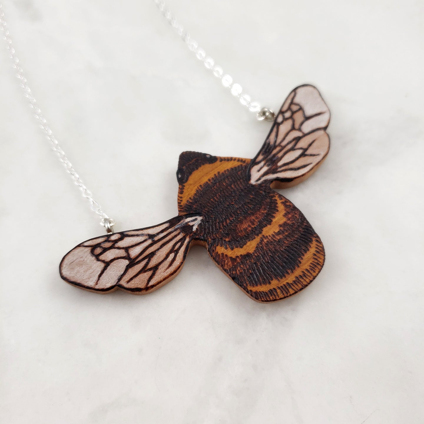 Wood burned Moth or Butterfly Necklace