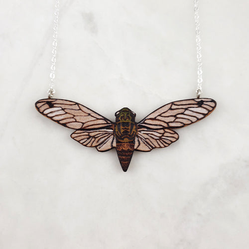 Wooden Necklace - Cicada