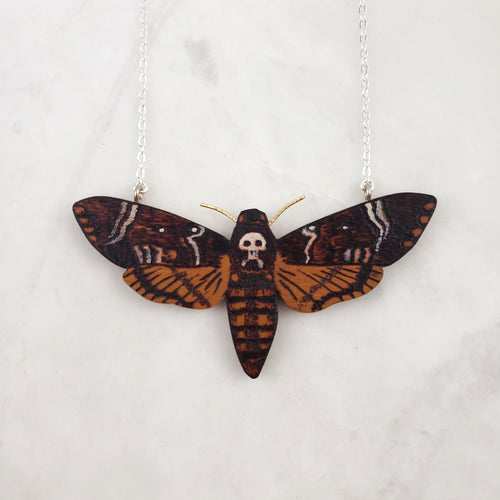 Wooden Necklace - Death's Head Hawkmoth