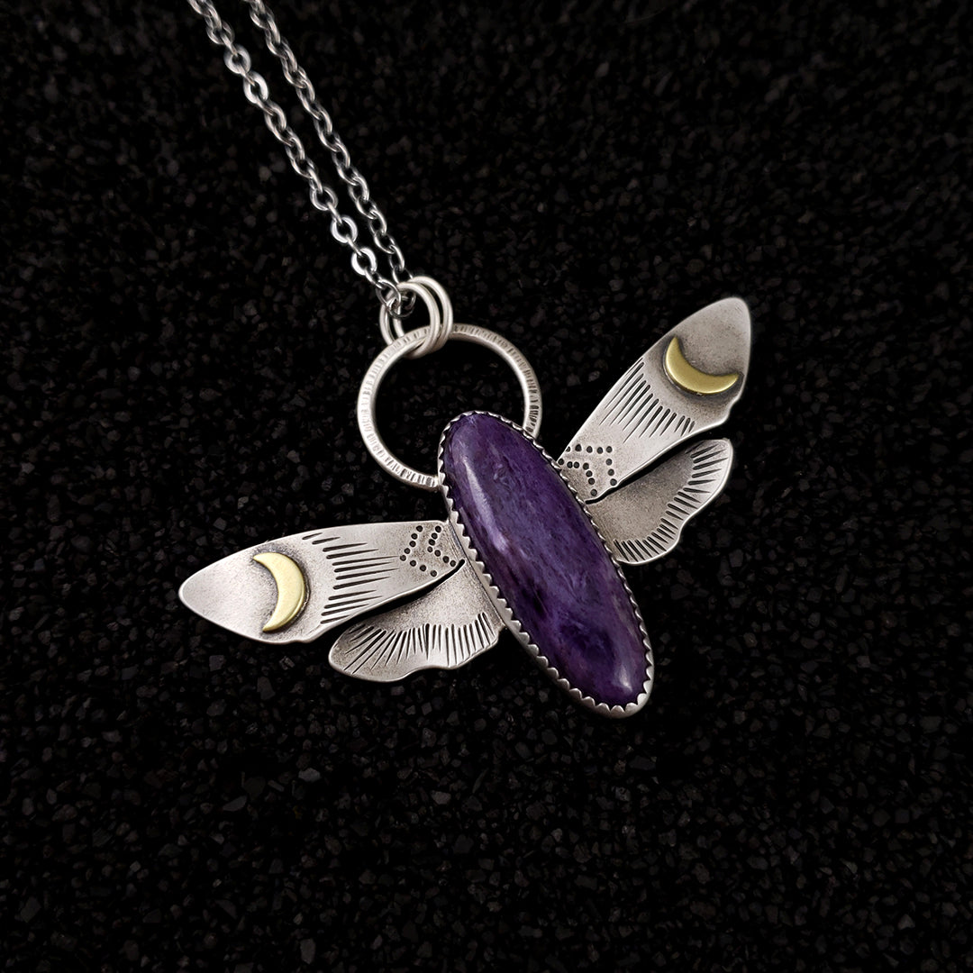 Dark Skies - Alula Hawkmoth Necklace - PICK YOUR STONE