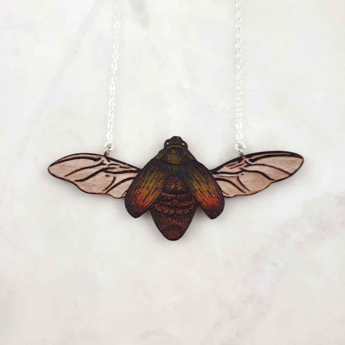 Wooden Necklace - Scarab Beetle